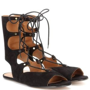 Chloe New Suede Lace Up Gladiator Flat Sandal